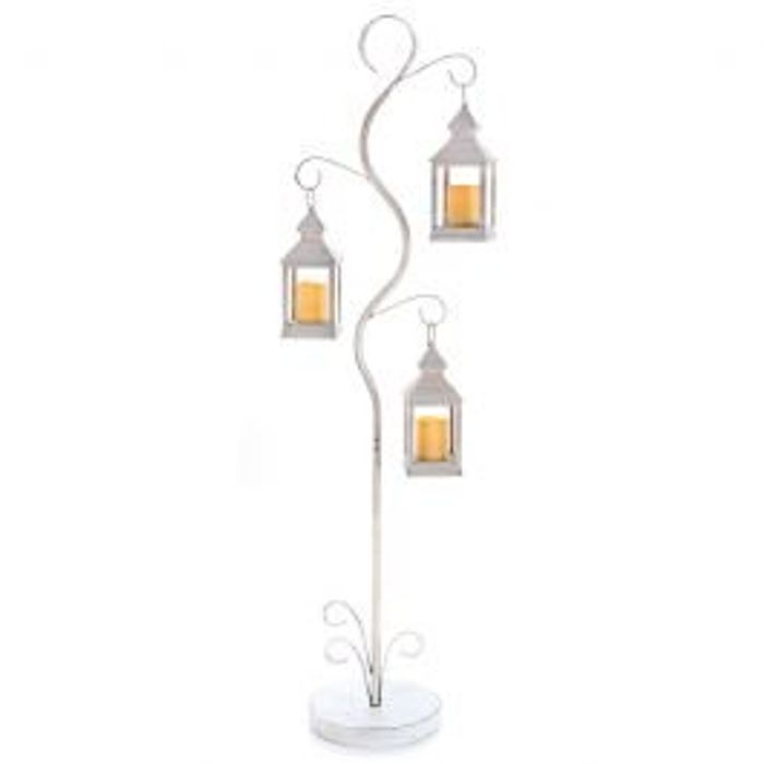 New England Garden Tree with 3 White Lanterns Inc. Battery Operated Candles