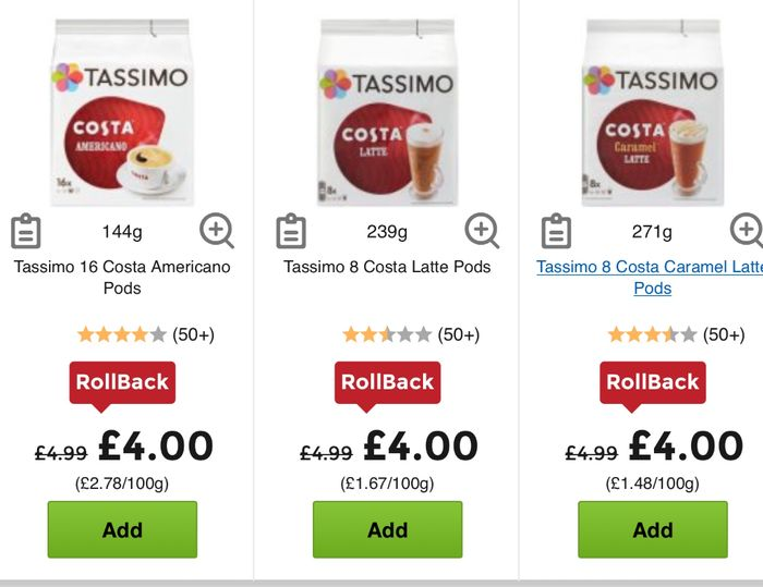 Costa Tassimo Coffee Pods 4 A Pack Of 816 At Asda