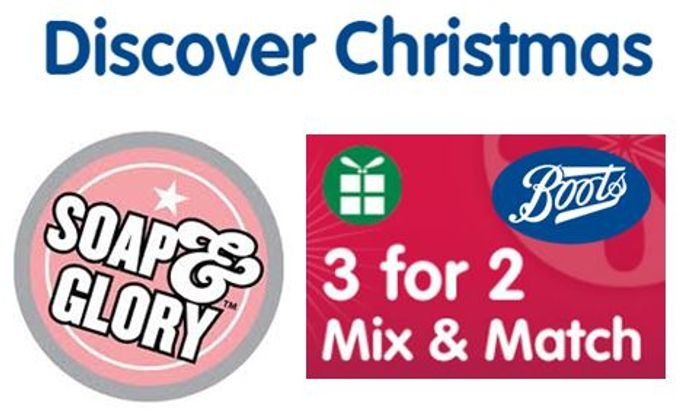 3 for 2 - Soap & Glory Christmas Deals at Boots - ONLINE ONLY