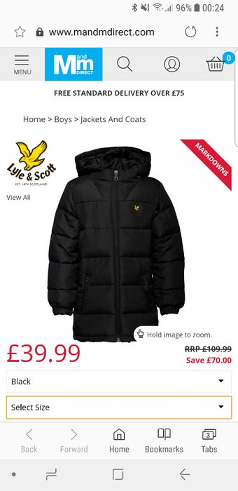 Lyle and Scott Boys down Puffer Coat