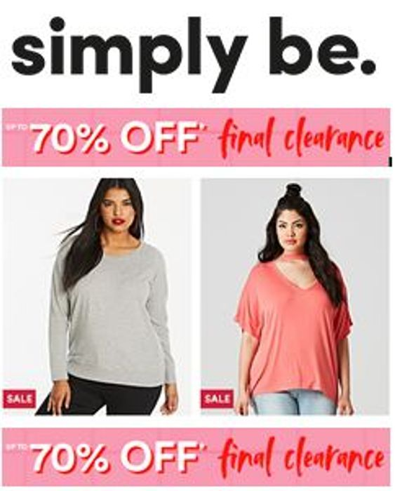 Curvy? There's up to 70% OFF at Simply Be! FINAL CLEARANCE PRICES