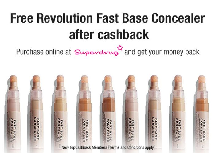 Free Revolution Fast Base Concealer for New Sign-ups at TopCashback