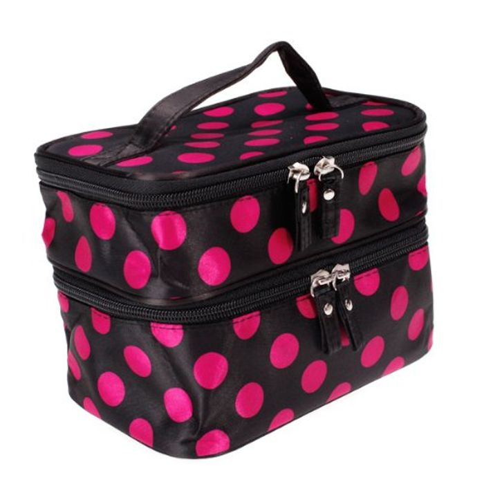 DAOKAI® Polka Dots Double Layer Dual Zipper Cosmetic Bag Toiletry Bag