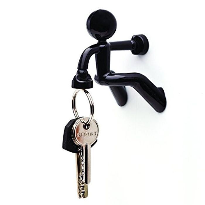 Novelty Wall Climbing Strong Magnetic Man Style Keyring Set Holder Black