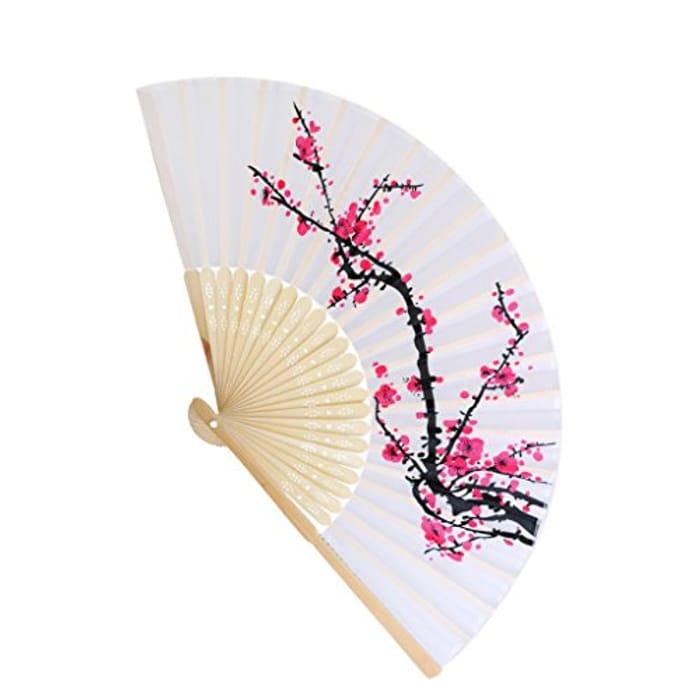 Elegant Flower Peacock Pattern Sequin Fabric Folding Handheld Hand Fan