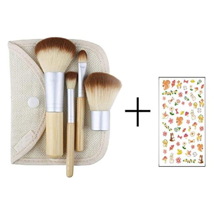 Bamboo Makeup Brush Set 4pcs Make up Brushes with a Cosmetic Bag
