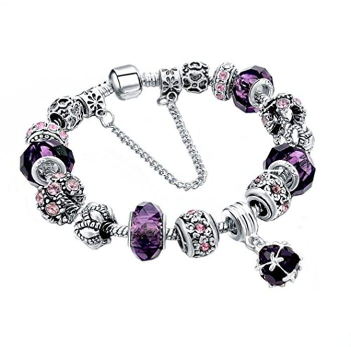 Bracelet Bangle Snake Chain Charm Strand Bracelet for Women (Purple