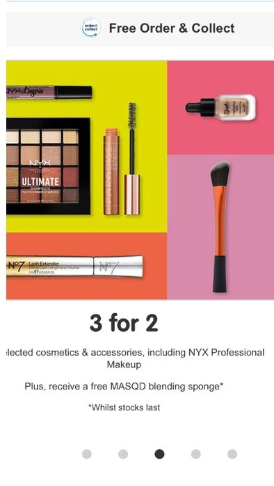 3 for 2 on Cosmetics & Accessories + Free MASQD Blending Sponge