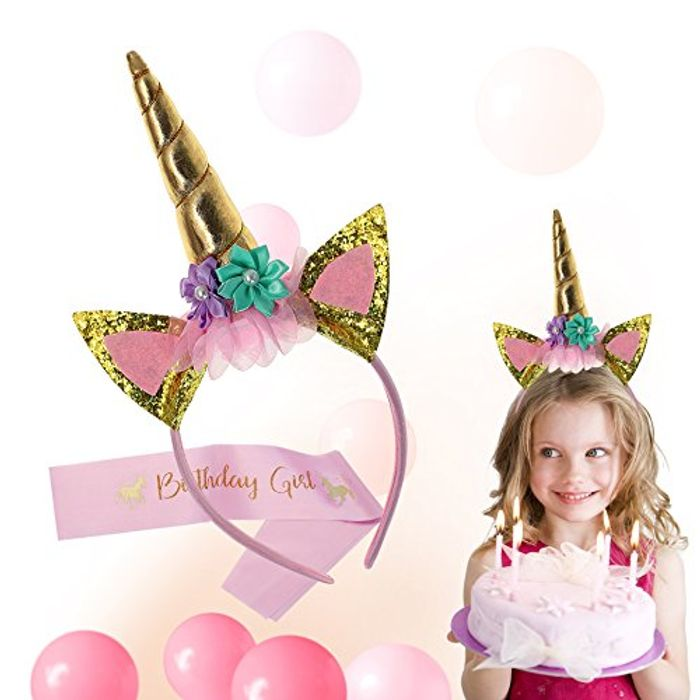 75% off Girls Unicorn Headband & Pink Sash Set (Only £3.99 with Prime Delivery)