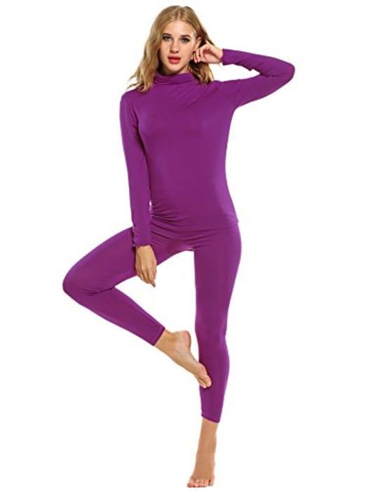 Save 80%OFF Women Thermal Underwear Set Solid Turtleneck Long Sleeve(FBA)