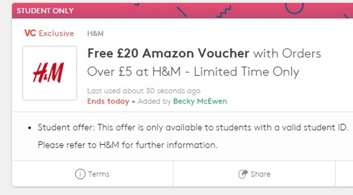 Free £20 Amazon Voucher with Orders over £5 at H&M for Students ONLY