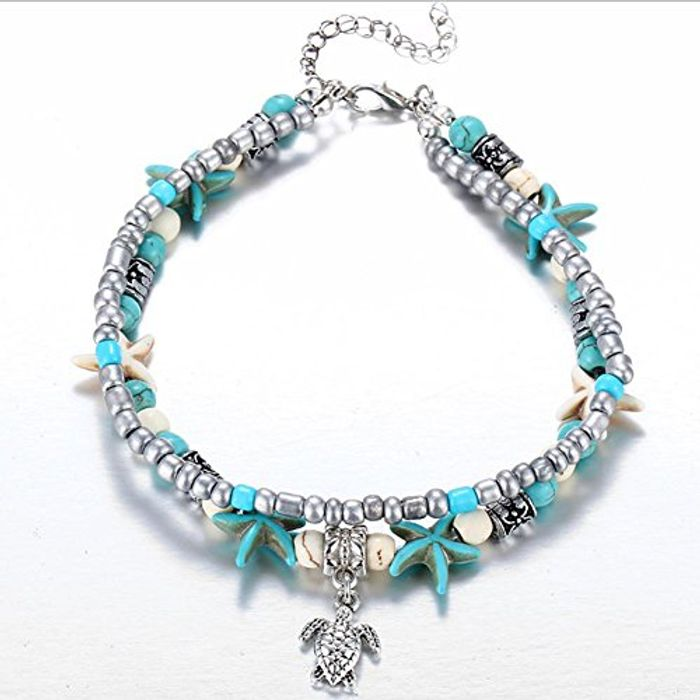 JaneDream Women Bohemian Cute Starfish Turtle Pendant Anklet