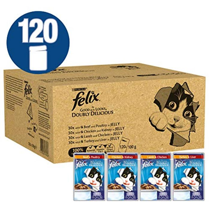 SAVE £8 Felix as Good as It Looks Doubly Delicious Cat Food (120 Pack) FREE DEL.