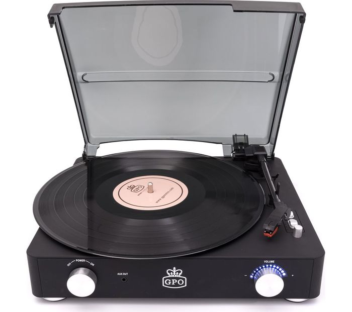 GPO Stylo II Turntable - Black + Free 3 Months Deezer Premium Music