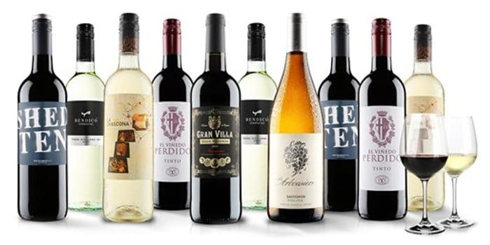 £39 – 10 Bottles of Wine & Pair of Crystal Glasses, Exc P&P