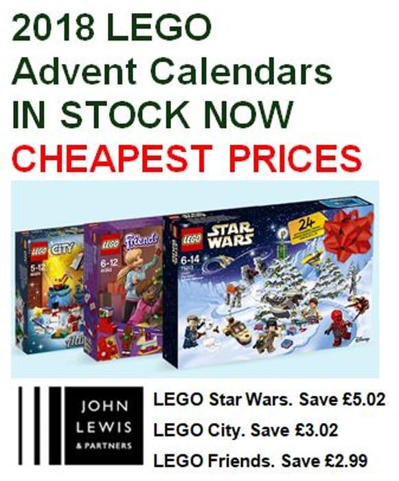 Cheapest Price LEGO Advent Calendars 2018 at John Lewis
