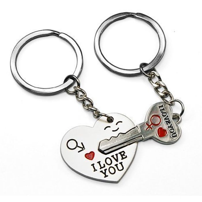 """Arrow & """"I Love You"""" Heart & Key Couple Key Chain Ring Keyring"""