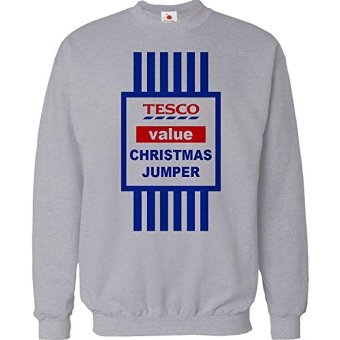 Christmas Jumper Sweater Mens Funny Tops Tesco Value Sweat Shirt Xmas Gift