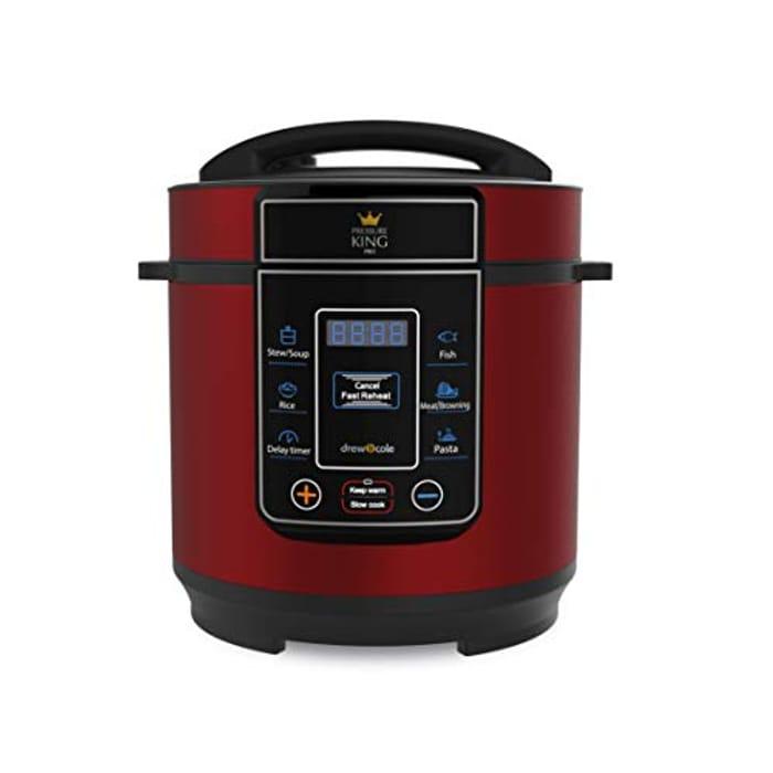 Pressure King Pro 3 Litre Pressure Cooker, Slow Cooker Red