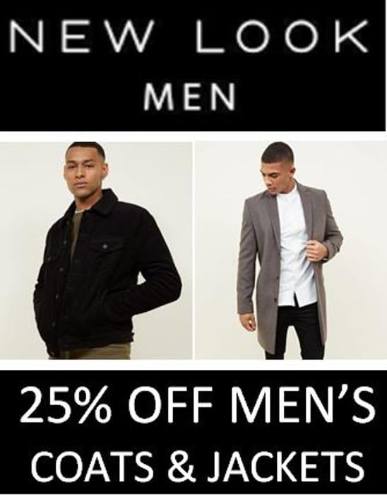 25% off Men's Coats & Jackets at NEW LOOK