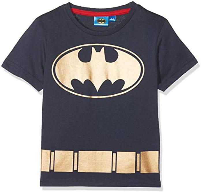 DC Comics Boy's Batman Symbol T-Shirt, Blue (Navy), 8 Years