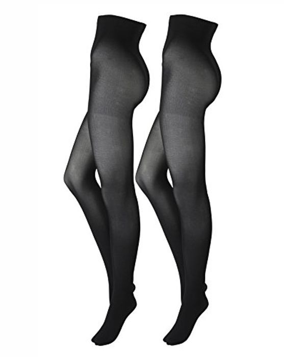 Simply Be Womens 2 Pack Opaque 100 Denier Tights Black, S(12/14)