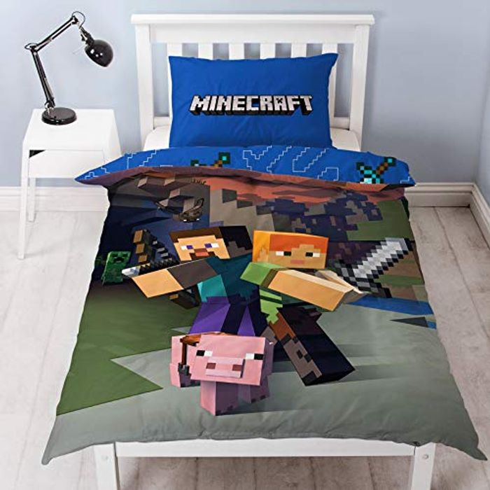 Minecraft Reversible Single Duvet Cover Set (15 Left, More on the Way)