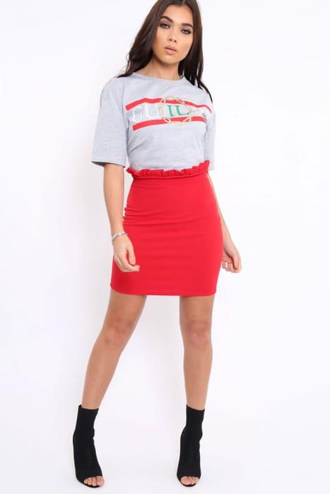Red Ruffle Hem Mini Skirt