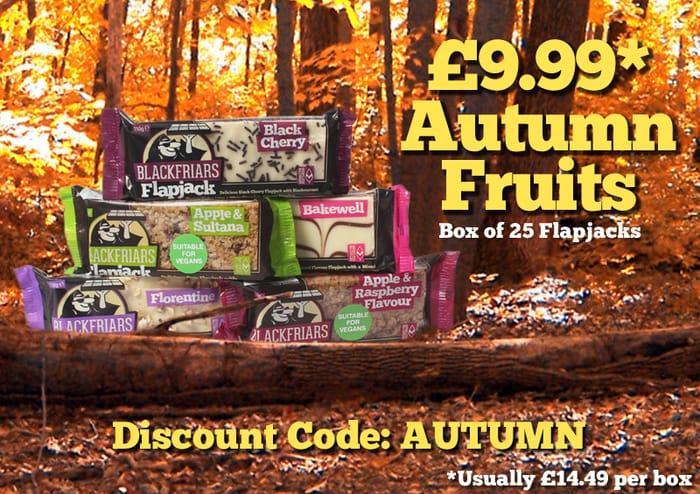 £9.99 Autumn Fruits. Box of 25 Flapjacks