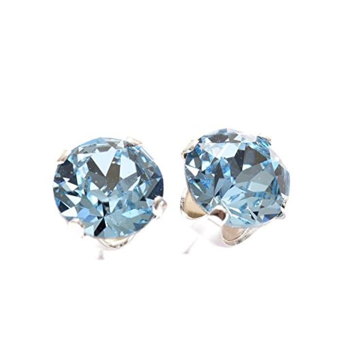 bf090eda2 925 Sterling Silver Stud Earrings with Aqua Blue Swarovski Crystal Stones.