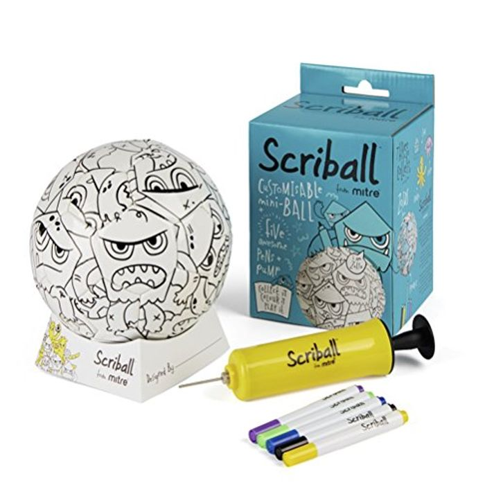 Scriball from Mitre Personalisable Mini Football with Colouring Pens