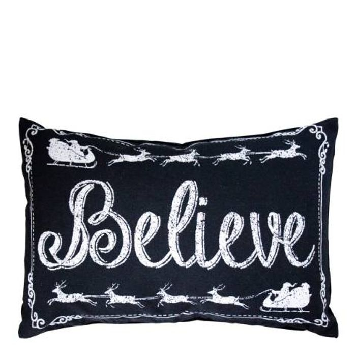 GALLERY Black/White Believe Monochrome Cushion 33 X 50 Cm