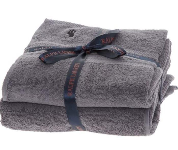 RALPH LAUREN Grey Logo Towel Set of 2