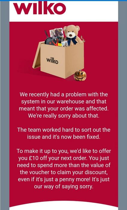 Check Your Emails for £10 Voucher from Wilko