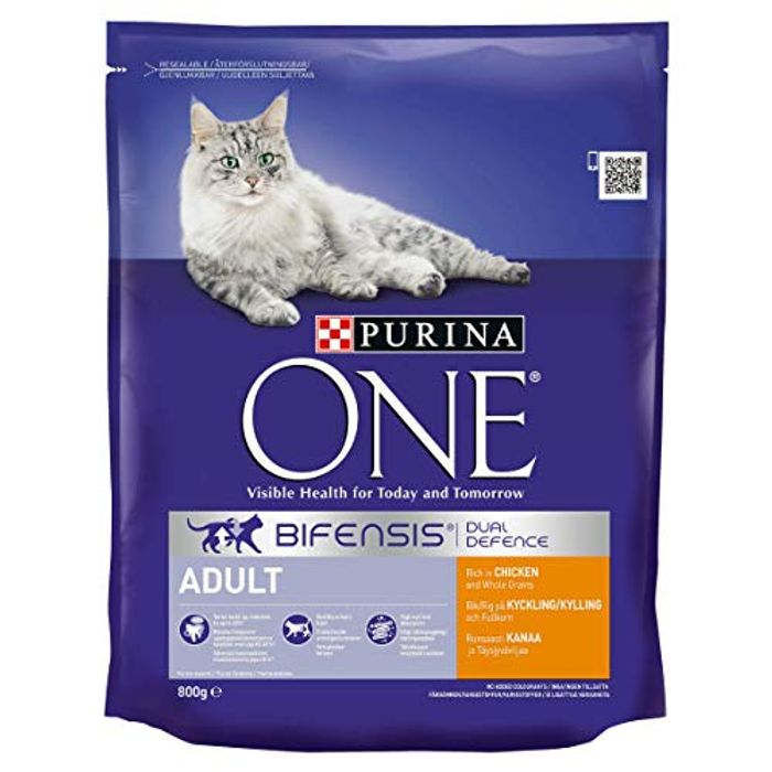 Purina ONE Adult Dry Cat Food Chicken and Wholegrains 800g - Case of 4 (3.2kg)