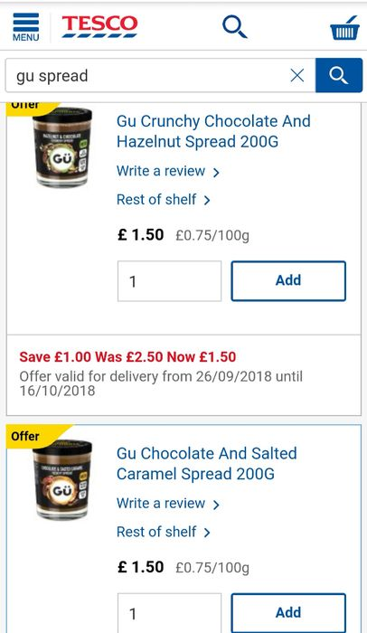 Gü Chocolate Spreads- Smooth Salted Caramel/ Crunchy Hazelnut