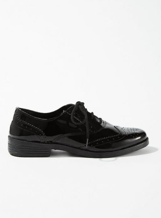 Ladies Black Patent Brogue Shoes