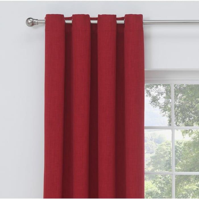 Argos Home Linen Look Blackout Curtains - 117x183cm - Red