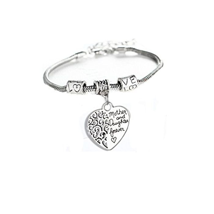 Mother and Daughter Love Heart Bangle Bracelet