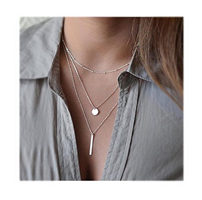 Multi-Layered Pendant Chain Statement Necklace 49p and Free Delivery