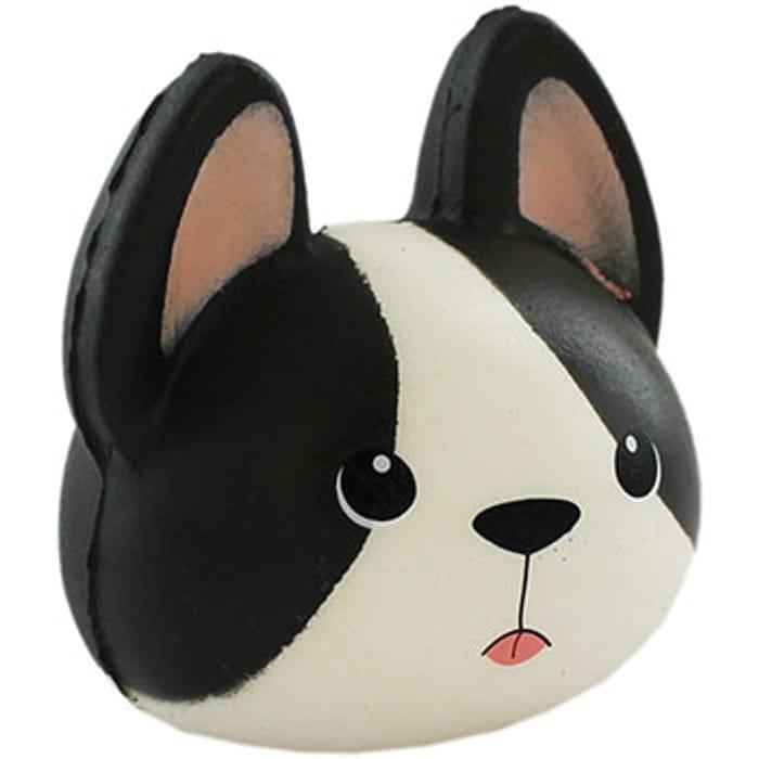 Black White Bulldog Squishy Toy