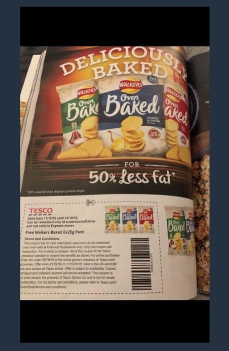 Free 6 pack of Crisps in Tesco Mag