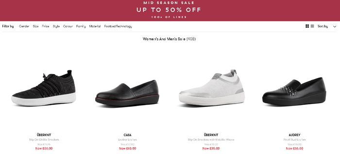 Up to 50% off mid Season Sale at Fitflop