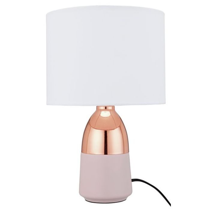 Argos Home Duno Touch Table Lamp - Pink & Copper