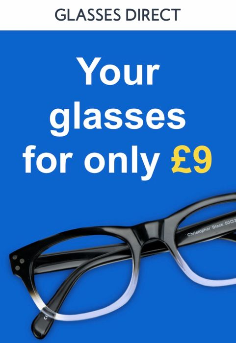 Get a £20 Pair of Glasses for £9 at Glasses Direct