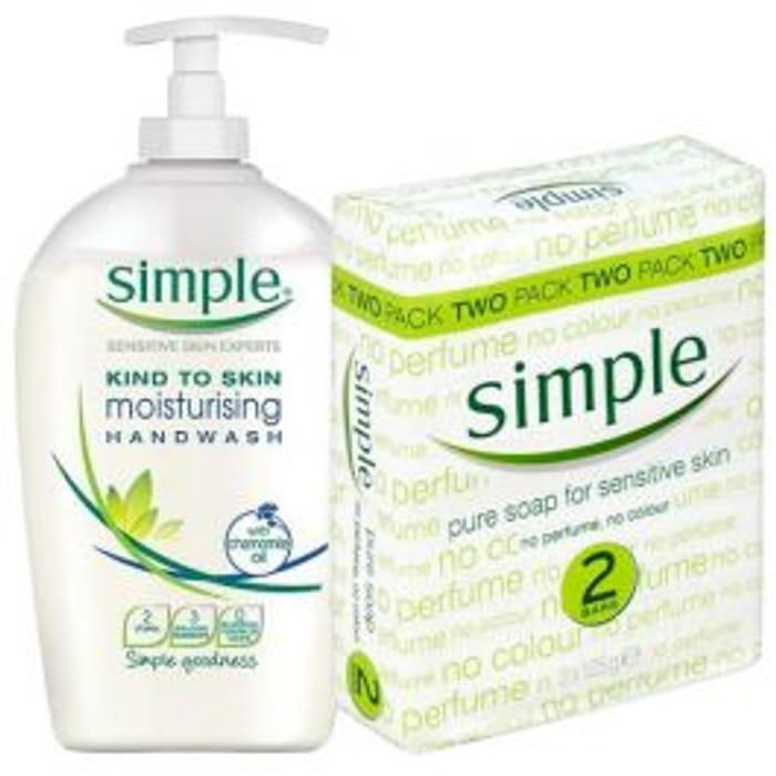 Simple Handwash 250ml & Simple Soap Bars 2 Pack