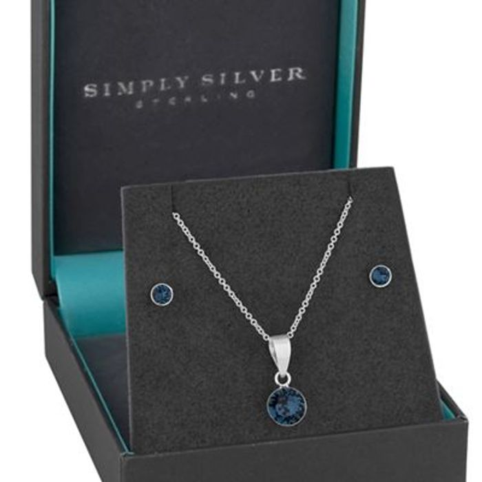 Sterling Silver Set Embellished with Swarovski Crystals