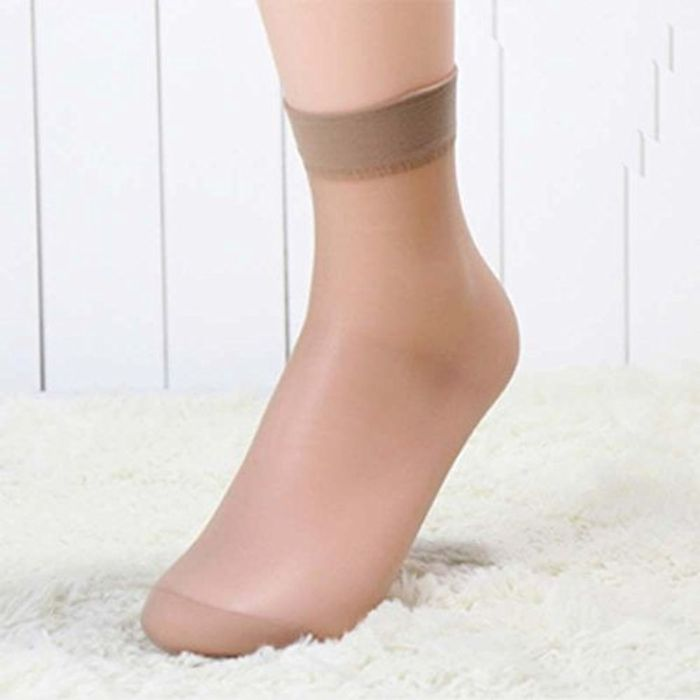 10 Pairs Women Ultra-Thin Transparent Pure Colors Ankle High Pop Short Socks