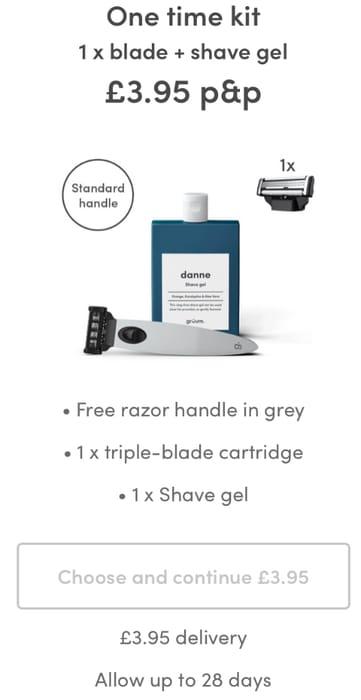 Free Razor Handle in Grey,triple-Blade cartridge,Shave Gel P&p £3.95