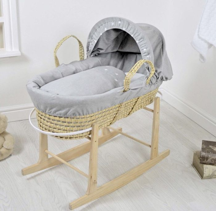 4baby Deluxe Palm Moses Basket & Rocking Stand - Galaxy Grey..
